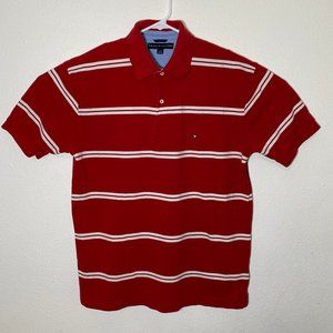 Tommy Hilfiger Mens Large Red White Striped Polo